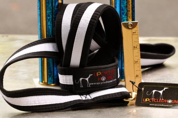 Black w/White Stripe Karate Belt Leash