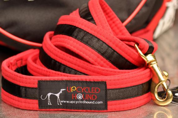 Karate Belt Leash Red with Black Stripe
